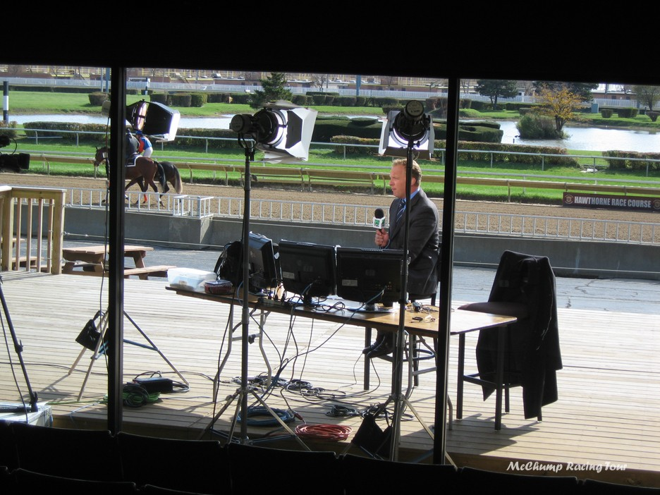 Simon from TVG at Hawthorne Racecourse